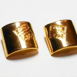Vintage Givenchy Gold Plated Logo Earrings